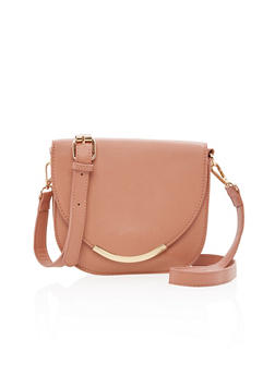 Faux Leather Saddle Bag with Ring Handle - 3124040323905