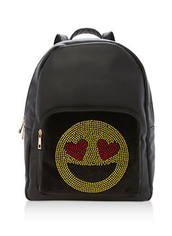 Faux Leather Rhinestone Emoji Backpack - 3124040325274