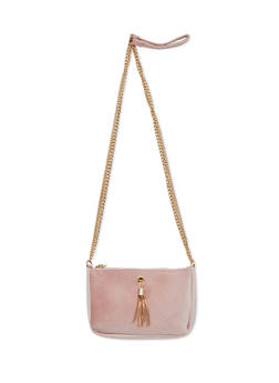 Velvet Double Chain Crossbody Bag - 3124041651758