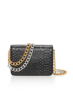 Embossed Faux Leather Double Chain Crossbody Bag - 3124041651760