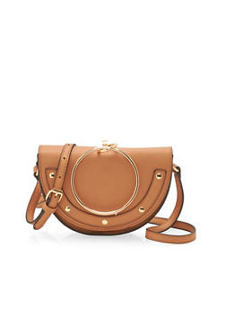 Studded Faux Leather Top Ring Crossbody Bag - 3124041651765