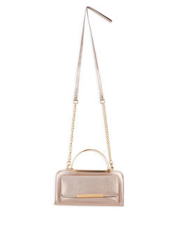 Metallic Handle Crossbody Bag - 3124041651766