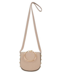 Faux Leather Studded Saddle Bag - 3124041651769
