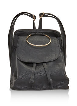Faux Leather Mini Backpack with Metal Ring Detail - BLACK - 3124041656517