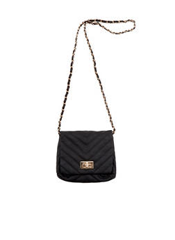 Crossbody Bag in Chevron Quilted Faux Leather - 3124060141550