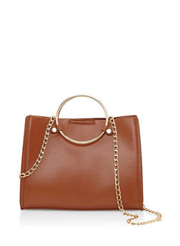 Double Ring Satchel Bag with Detachable Chain Strap - 3124060142059