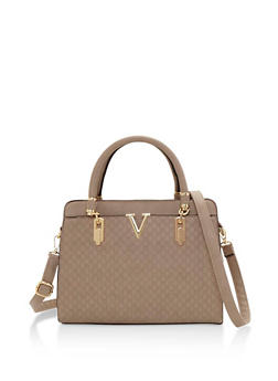 Embossed Faux Leather Satchel Bag with Metallic V Detail - 3124060142068