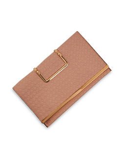Embossed Faux Leather Clutch with Metal Accents - 3124060145046