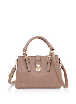 Embossed Faux Leather Satchel Bag - 3124060145071