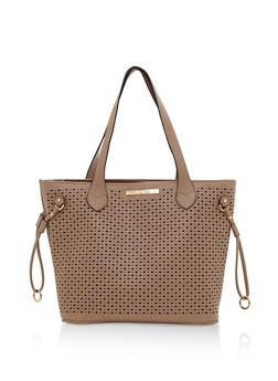 Lasercut Faux Leather Tote Bag with Metal Ring Accent - 3124060145098