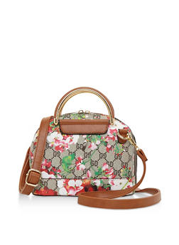 Floral Mixed Print Bowler Bag with Metal Handles - 3124060145102
