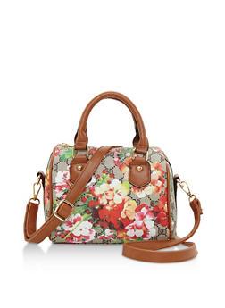 Floral Mixed Print Satchel Bag - 3124060145103