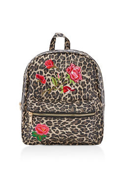 Leopard Floral Embroidery Backpack - 3124061590825