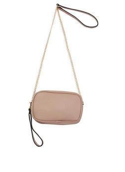 Double Zip Faux Leather Crossbody Bag - 3124061592516