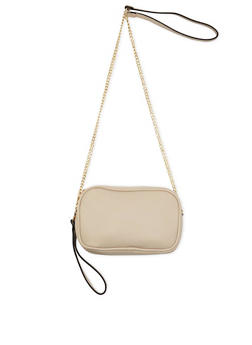 Double Zip Faux Leather Crossbody Bag - 3124061592516