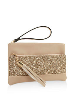 Double Zip Faux Leather Clutch with Glitter Accent - 3124061594848