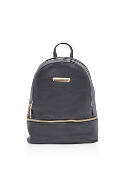 Small Faux Leather Backpack - 3124061595026