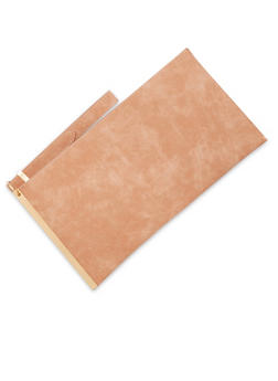 Faux Suede Clutch with Metal Trim - 3124061595130