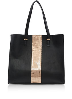 Faux Leather Mirrored Trim Tote Bag - 3124061595140