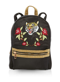 Patch Embroidered Glitter Backpack - 3124061595150