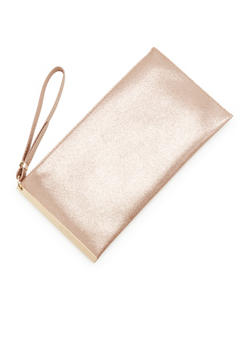 Metallic Faux Leather Clutch with Wristlet Strap - 3124061595169