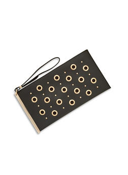 Faux Leather Clutch with Grommet and Stud Detailing - 3124061595174