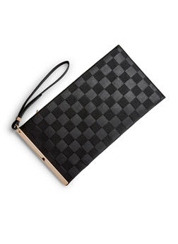 Embossed Faux Leather Clutch with Wristlet Strap - 3124061595175