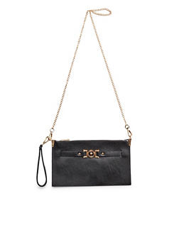 Convertible Crossbody Bag with Removable Chain Shoulder Strap - 3124061595210