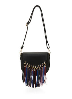 Faux Leather Crossbody Bag with Faux Suede Fringe - 3124061595550