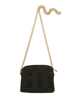 Mini Faux Leather Textured Crossbody Bag - 3124061595900