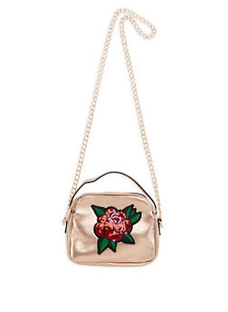 Double Zip Crossbody Bag with Sequin Floral Applique - 3124061596032