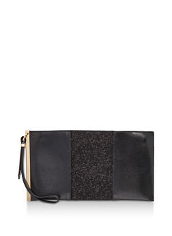 Faux Leather Glitter Clutch with Wrist Strap - 3124061596058