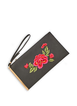 Faux Leather Rose Embroidered Clutch with Metal Accent - 3124061596089