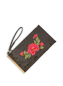 Velvet Rose Embroidered Clutch with Metal Accent - 3124061596090