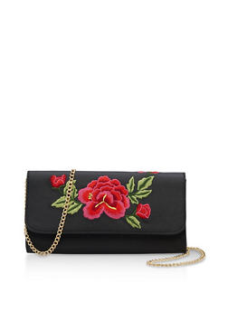 Faux Leather Rose Embroidered Bag with Chain Strap - 3124061596190