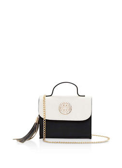 Faux Leather Color Block Crossbody Bag with Tassel - 3124061596370