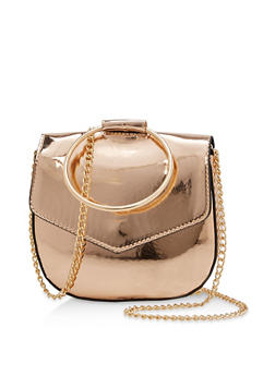Small Mirrored Metallic Saddle Bag with Circle Handle - 3124061596391