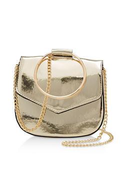 Small Mirrored Metallic Saddle Bag with Circle Handle - 3124061596391