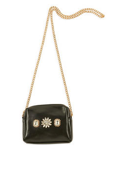 Mini Faux Leather Jeweled Crossbody Bag - 3124061596550
