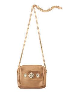 Mini Faux Leather Jeweled Crossbody Bag - 3124061596550