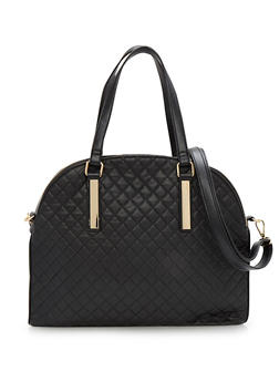 Faux Leather Quilted Satchel Bag - 3124067440066