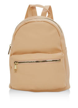 Small Faux Leather Backpack - 3124067440074