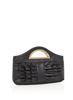 Faux Leather Ruffle Clutch with Metal Handle - 3124067440407