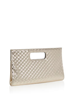 Textured Clutch with Cutout Handles - 3124067440606