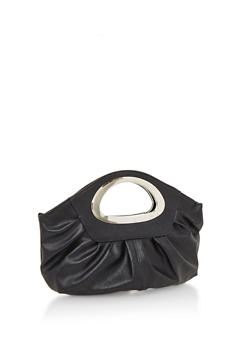 Faux Leather Pleated Metal Handle Clutch - 3124067440607