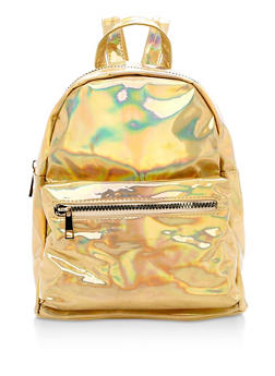 Small Faux Patent Leather Backpack - 3124067440705