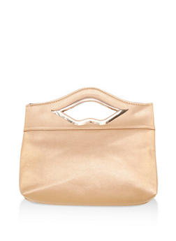 Faux Leather Square Clutch with Metallic Lip Handle - 3124067440707