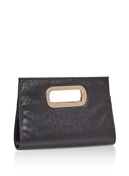 Faux Leather Metal Handle Clutch - 3124067441007