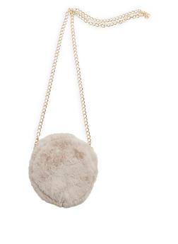 Round Faux Fur Crossbody Bag - 3124067441107