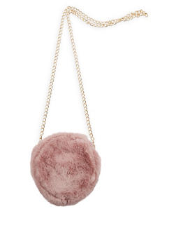 Round Faux Fur Crossbody Bag - 3124067441107